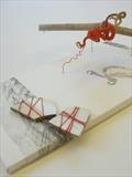 Crux. detail 2013 by sarah burgess, Textiles, Mono-print drawing, wrapped prunings and pot shards