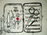 Emergency Kit, 2011 by sarah burgess, Drawing, Monotype drawing on paper, added objects